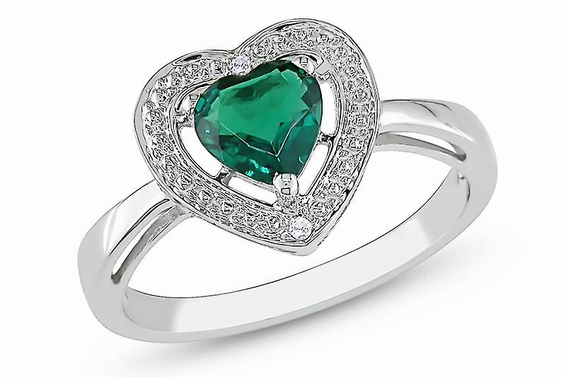 Affici Sterling Silver Halo Ring 18ct White Gold Plated~ Heart Cut Emerald CZ Gem