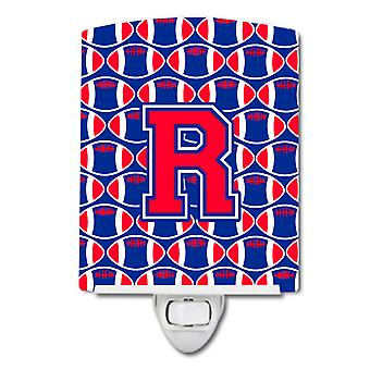 Letter R Football Harvard Crimson and Yale Blue Ceramic Night Light