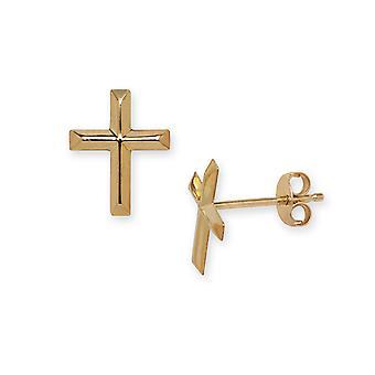 14k Yellow Gold Religious Faith Cross Stamping for boys or girls Earrings Measures 10x8mm