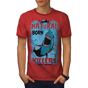 Born Killer Shark Men Heather Red/RedRinger T-shirt | Wellcoda