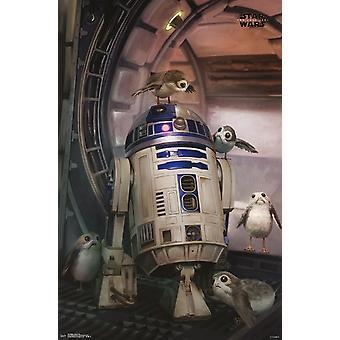 Star Wars viimeinen Jedi - Droid & Porg Juliste Tulosta