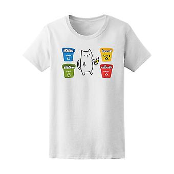Funny Cat Recycling Trash Bins Tee Women's -Image by Shutterstock