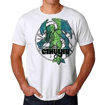 Warpo Cthulhu Distressed Men's White T-shirt