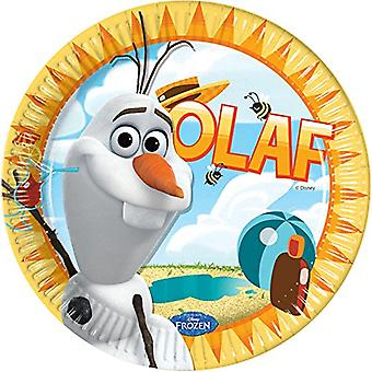 Tallerken tallerken OLAF Frozenparty kids birthday party plate 23 cm diameter 8 biter