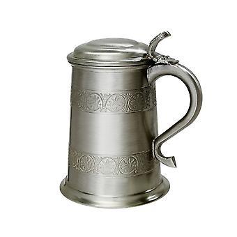 Middeleeuwse antieke afwerking tinnen 1 Pint Tankard