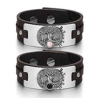 Drzewo życia Celtic uprawnień pary różowy symulowanych koty oko symulowane Onyx brązowe Skórzane bransoletki
