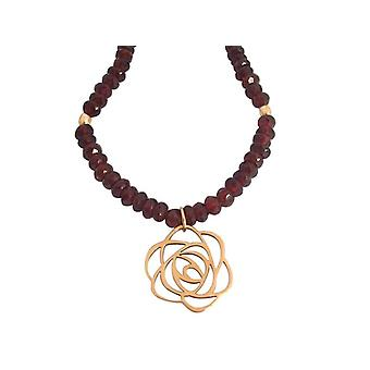 Ladies necklace gold plated Garnet flower Art-Deco red gemstone necklace