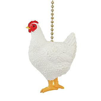 Down on the Farm White Chicken Ceiling Fan Pull Decorative Light Chain