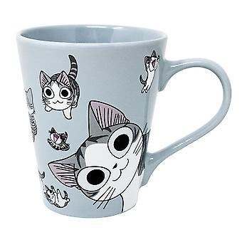 Petit chat Chi tasse bleu clair, imprimé, en céramique, douille÷ 340 ml..