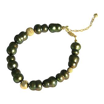 GEMSHINE armband barock odlade pärlor 925 silver eller förgyllda-Tahiti Evergreen