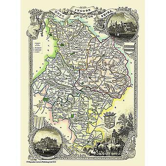 Karta över Huntingdonshire 1836 av Thomas Moule 1000 bit pussel (jhg)