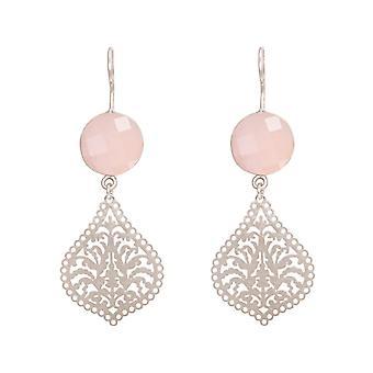 Boucles d'oreilles GEMSHINE pour femme Mandalas rose quartz argent, plaqué or ou rose