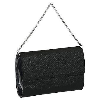 Embrayages élégant sac en noir satiné Made in Italy