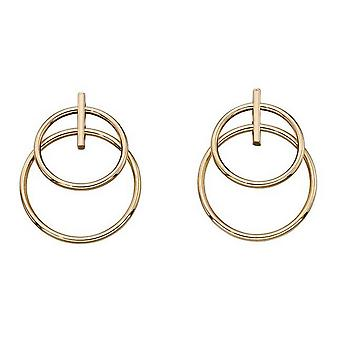 Elements Gold Double Circle Drop Earrings - Gold
