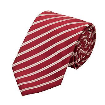 Schlips Krawatte Krawatten Binder 8cm dunkelrot rot weiß gestreift Fabio Farini