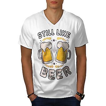Like beer funny Men WhiteV-Neck T-shirt | Wellcoda