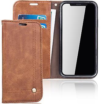 Matkapuhelin kansi tapauksessa Apple iPhone X suojaa lompakon tapaus Brown