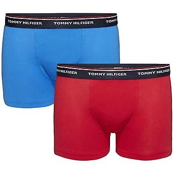 Tommy Hilfiger Boys 2 Pack Premium Essentials Boxer Trunk, Brilliant Blue / Tango Red, Medium