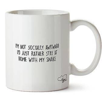Hippowarehouse non sono socialmente scomodo solo preferirei stare a casa con il mio serpente stampato Mug tazza ceramica 10oz