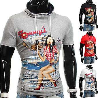 T-Shirt Hoodie Short Sleeve High Neck Body-Conscious Stretch Burlesque American Diner