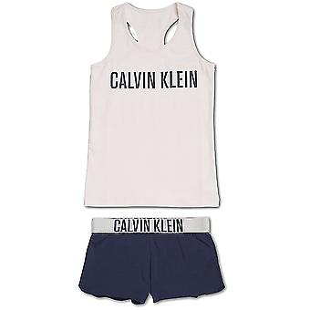 Calvin Klein Girls Intense Power PJ Set, Shrinking Violet  / Blue Shadow, XX-Large