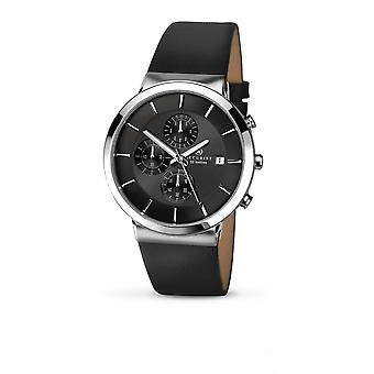 Accurist Mens Round Black Chronograph Dial Black Strap Watch