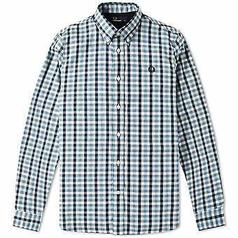 Manga longa camisa M8290-453 Fred Perry Herringbone Gingham masculina