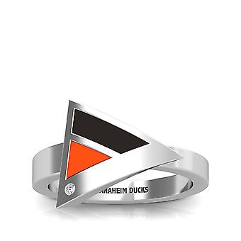 Anaheim Ducks Engraved Sterling Silver Diamond Geometric Ring In Black and Orange