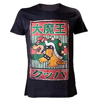 Mäns Super Mario Bros svart Bowser kanji T-shirt