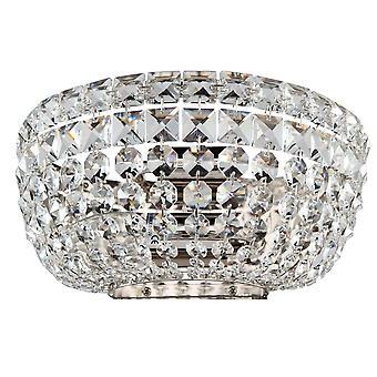 Maytoni Lighting Basfor Diamant Crystal Sconce, Nickel
