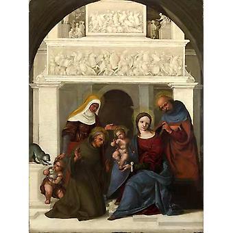 The Holy Family with Saints John,Lodovico Mazzolino,39.4x53cm