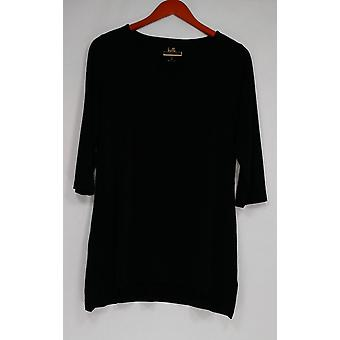Belle by Kim Gravel Women's Top Hi-Low Hem Tunic w/ Keyhole Black A301535