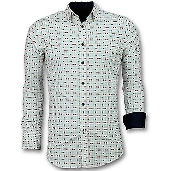 Shirts Slim Fit - Tetris Motif Shirt - Beige