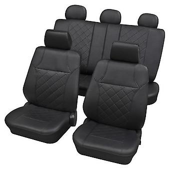 Black Leatherette Luxury Car Seat Cover Set Für Citroen BERLINGO 1996-2018