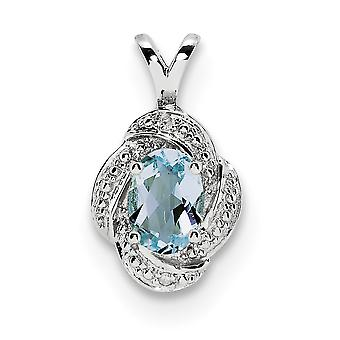 925 Sterling Silver Polished Rhodium plated Diamond and Aquamarine Pendant Necklace Jewelry Gifts for Women