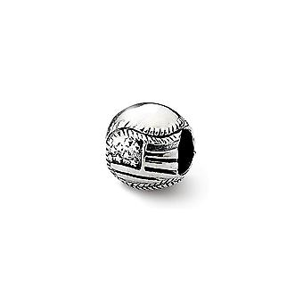 925 Sterling Silver Polished finish Reflections Usa Flag Baseball Bead Charm Pendant Necklace Jewelry Gifts for Women