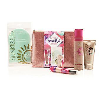 Sunkissed Glow Kit - 200ml Self Tan Mousse - Medium , Dusting Brush, Self Tan Application Mitt, 150ml Body Primer and Bag