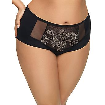 Gorsenia K507 Women's Dayana Black Floral Embroidered Knickers Panty Full Brief