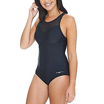 Zoggs Womens Merengo Mesh Clip Back Swimming Swim Pool Swimsuit Costume - Black