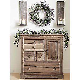 Heine Home 2 Stck. dekorativer großer rustikaler Holz Wandkerzenhalter braun/klar ca. 52,5/16/18 cm
