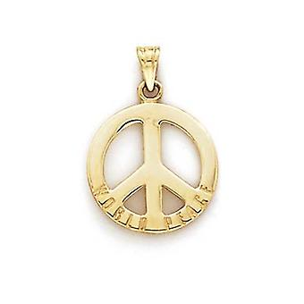 14k Yellow Gold World Peace Peace Sign Pendant Necklace Jewelry Gifts for Women - 1.5 Grams