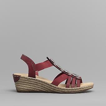 Rieker 624b4-35 damer kile hæl sandaler vin