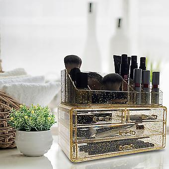 OnDisplay Gold Glitter 4 Drawer Tiered Acrylic Cosmetic/Jewelry Organizer