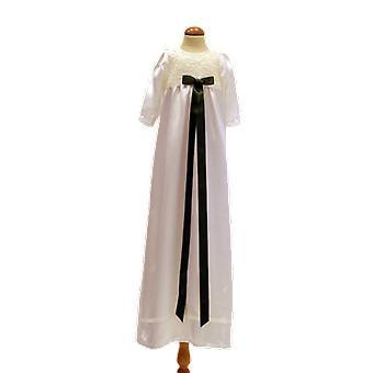 Christening abito io off bianco con manica lunga, fiocco verde oliva scuro