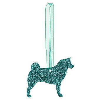 Green Akita Glitter Christmas Decoration