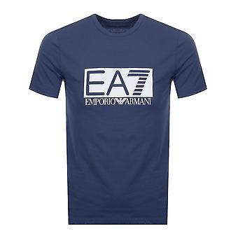 EA7 Emporio Armani Cotton Printed Logo Stretch Navy T-shirt