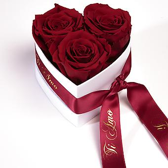 Ti Amo Roses Heart Box 3 Eternal Roses in Dark Red Durable 3 Years
