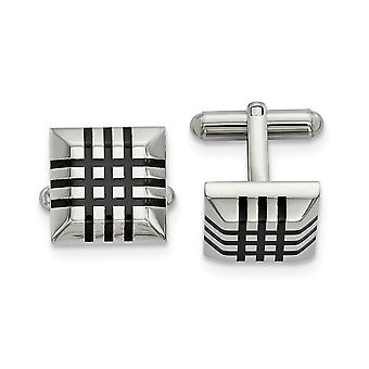 18.13mm Stainless Steel Polished With Black Rubber Cuff Links Jewelry Gifts for Men
