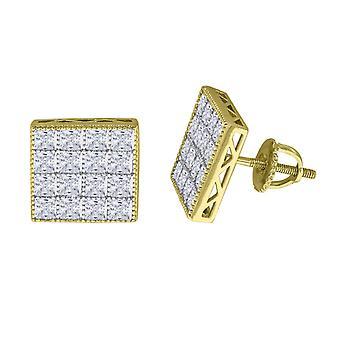 925 plata esterlina hombres amarillo tono CZ princesa corte cuadrado Stud pendientes medidas 11.9x11.9mm Wid joyas regalos para los hombres