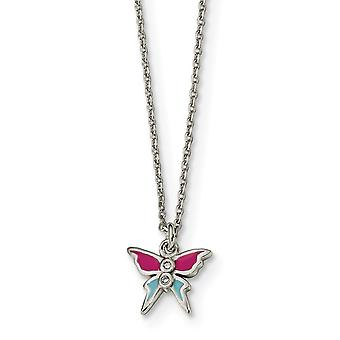 925 Sterling Silver Polished and Enameled CZ Cubic Zirconia Simulated Diamond Butterfly Angel Wings Necklace 14 Inch
